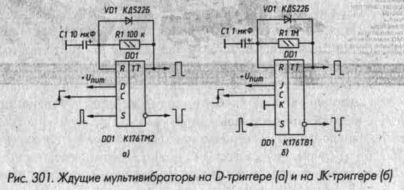 Рис. 301 Ждущие мультивибраторы на D-триггере и JK-триггере
