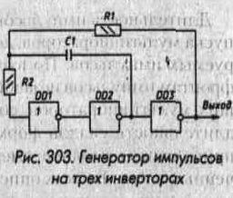 Рис. 303 Генератор импульсов на трех инверторах