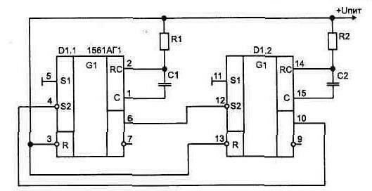 Симметричный мультивибратор можно выполнить на двух ЛЭ, рис. 1 37 или.