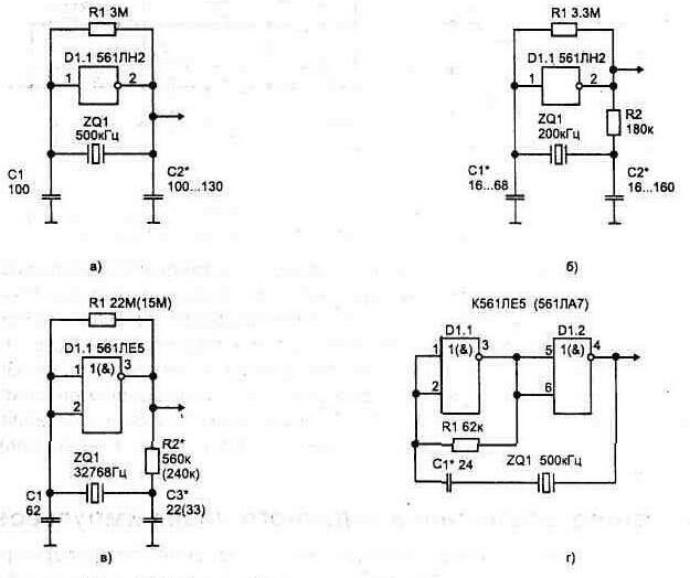 Рис. 1.41. Простейшие схемы мультивибраторов с кварцевой стабилизацией частоты