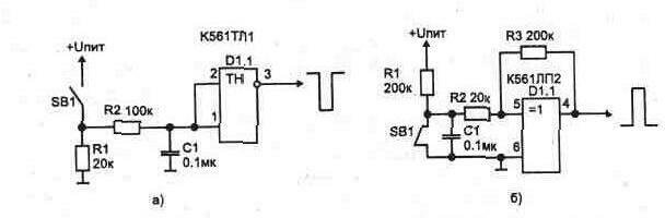 Рис. 1.5. Формирование длинного импульса с помощью: а) триггера Шмитта; б) триггера Шмитта собраннго на ЛЭ