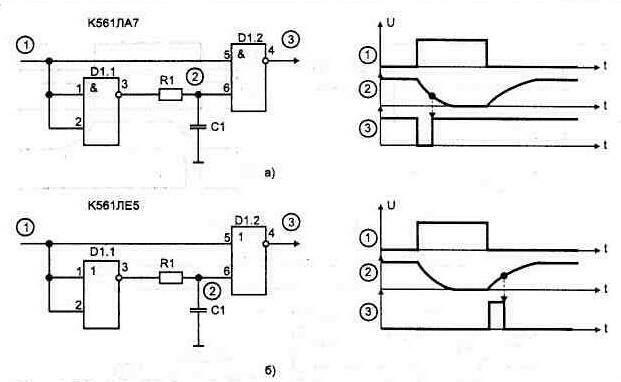 Рис. 1.50. Формирователи импульсов на основе интегрирующих цепей