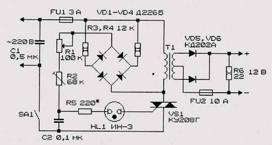 Схема зарядного устройства для стартерных аккумуляторных батарей.