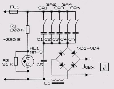 Рис. 16.5.  Схема выпрямителя для заряда аккумуляторов.