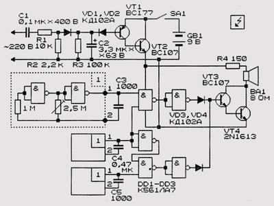 Схема индикатора отключения