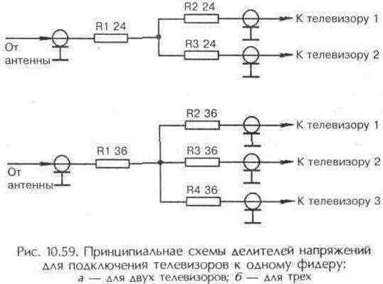 Рис. 10.59 Принципиальные схемы делителей напряжений для подключения телевизоров к одному фидеру