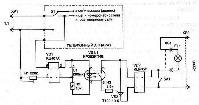 Оптронный ключ VS1 управляет от крыванием тиристора и обеспечивает полную развязку ТЛ от сети 220 В. Для работы...