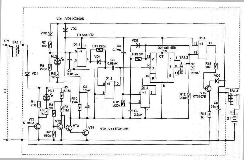 Рис. 3. 3. Схема блокиратора с индикацией режимов работы ТЛ.  Светодиод HL1 служит для индикации срабатывания...
