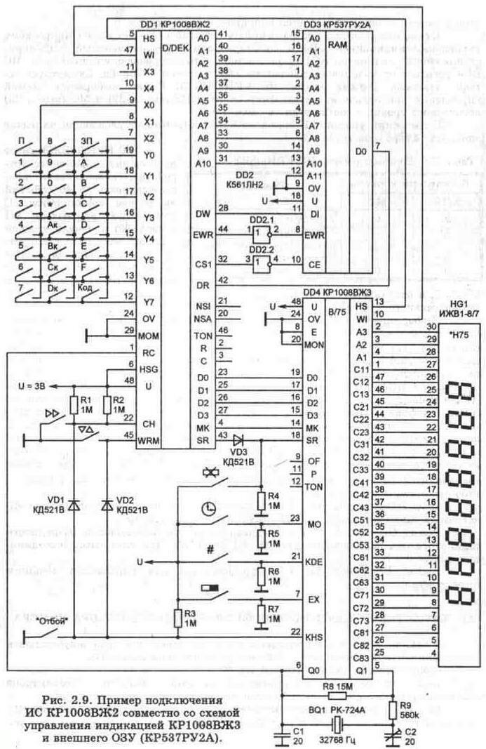 Телефонная техника.  Вверх.  2.5. Характеристики микросхем электронного набора номера.