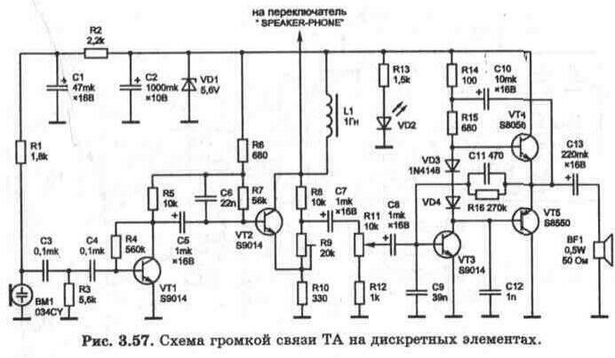 И в заключение приведём схему громкой связи на дискретных элементах (рис. 3.57).  Эта схема встречается в недорогих...