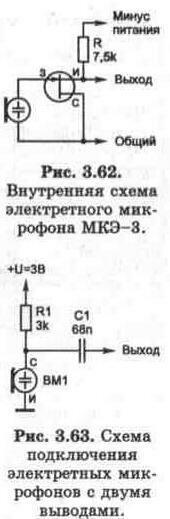 Рис. 3.62-63 Внутренняя схема электретного микрофона МКЭ-3