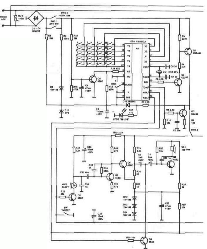 Рис. 4.16a Электрическая принципиальная схема телефонного аппарата Tel 01.
