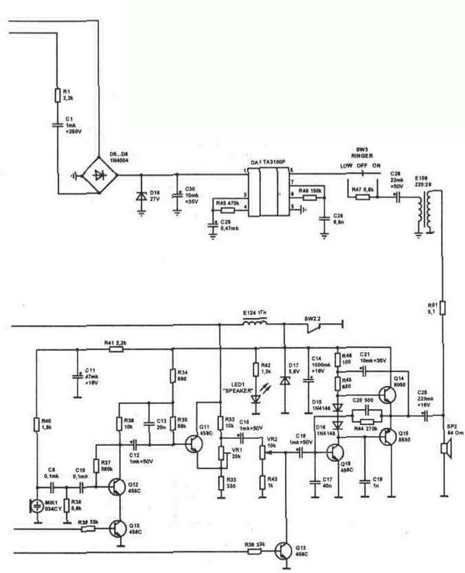 Рис. 4.16a Электрическая принципиальная схема телефонного аппарата Tel 01.  Original.  Телефонная техника.