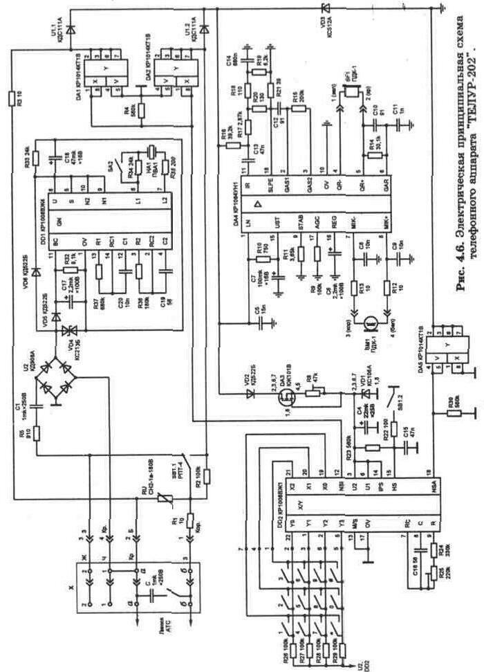 """Электрическая принципиальная схема телефонных аппаратов  """"ТЕЛТА-201 """" и  """"ТЕЛТА-204 """"."""