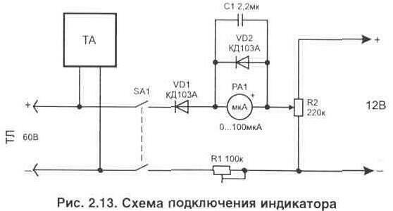 В основе работы устройства используется мостовая схема включения стрелочного индикатора с током полного отклонения 50...