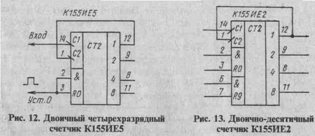 микросхема К155ИЕ5, содержащая в своем составе четыре счетных триггера.  Входом первого триггера является вывод 14, а...