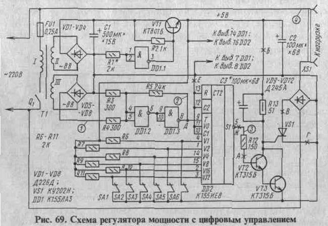 Рис. 2 - Схема регулятора мощности с цифровым управлением.