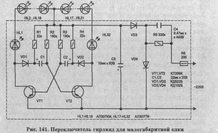 Диоды VD1, VD2 и резисторы Rl, R4 необходимы...  На транзисторах VT1,VT2 собран симметричный мультивибратор...