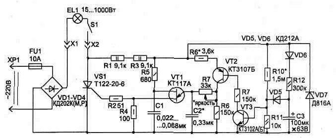 Тиристор закорачивает базу транзистора VT2 через диод VD9 на общий.